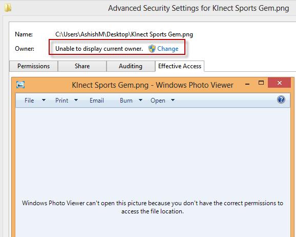 Take Ownership settings in Windows 8