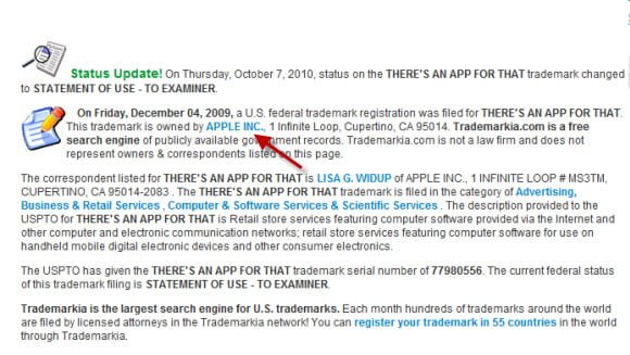 There is app for that apple trademark