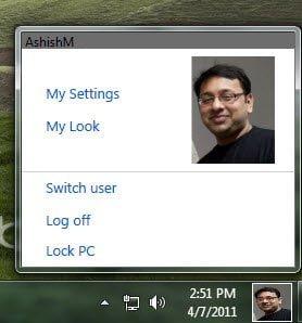 User Tile in Windows 7