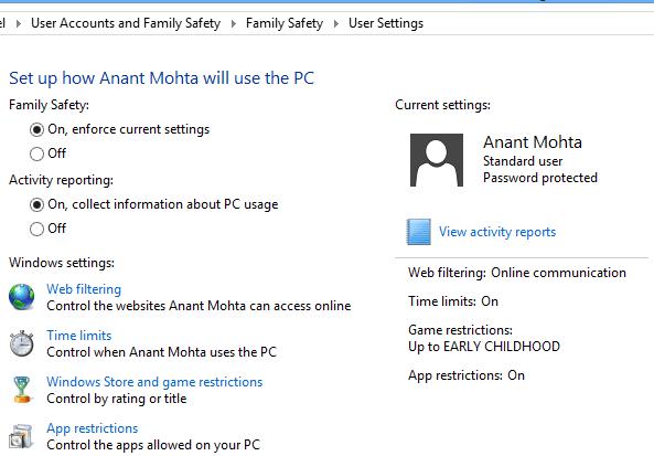 set up parental control Windows 10