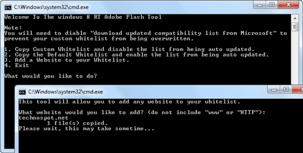 Windows RT Flash Whitelist Update tool