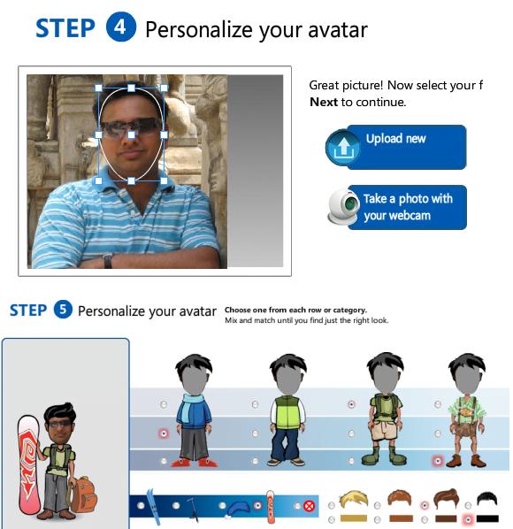Windows experience avatar creation