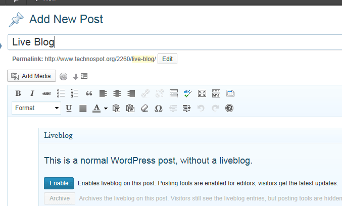 WordPress Create Live Posts