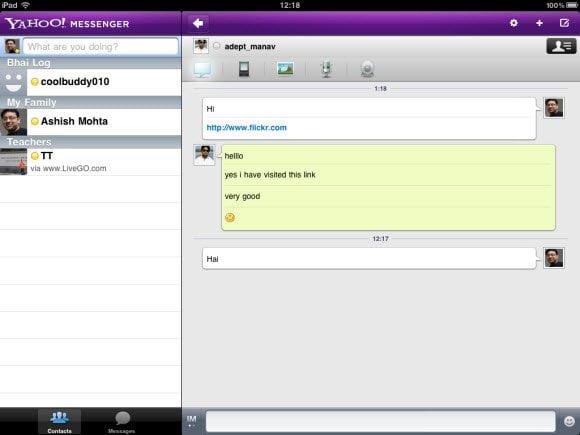 Yahoo Messenger for iPad