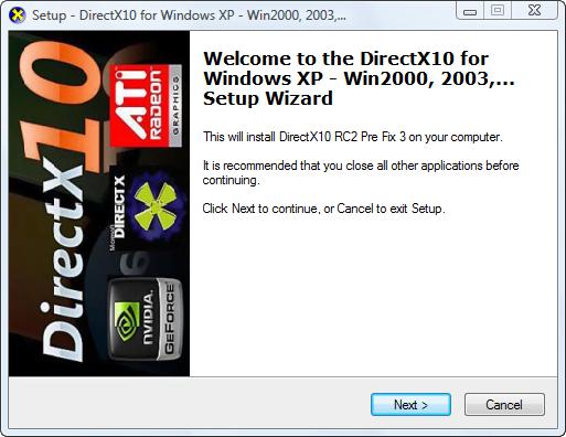 Directx 10 window xp installer