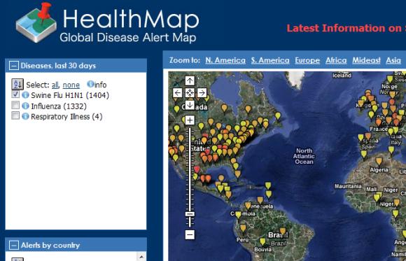 H1n1 sine flu health map