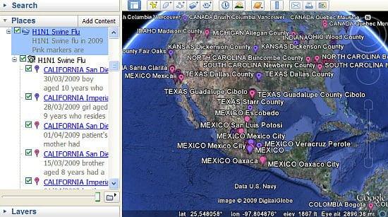 H1N1 Swine Flu on Google Earth