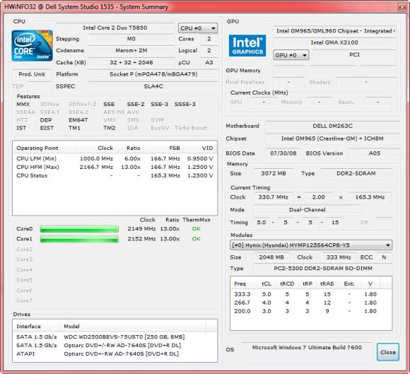 Hwinfo32 system summary