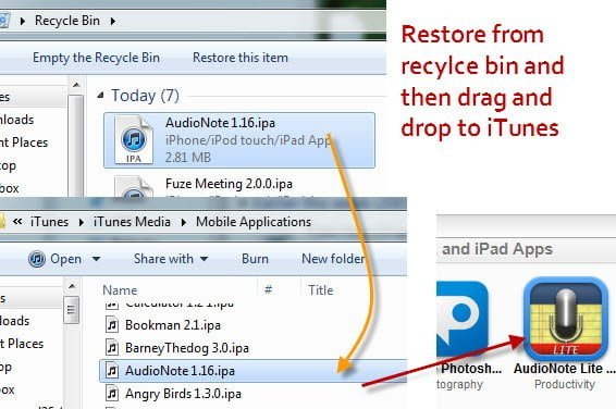 iTunes Restore Apps