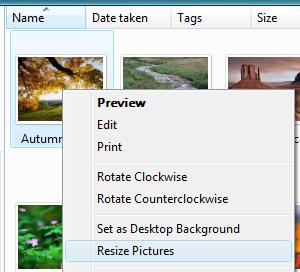 Shortcut menu for quick resizing