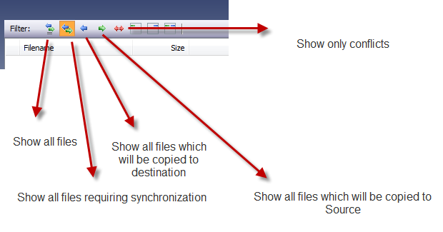 Filter options in Pure Sync