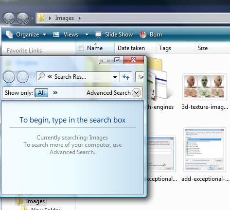 Searching a folder windows vista with F3