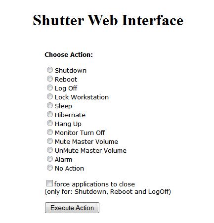 Shutter Web control