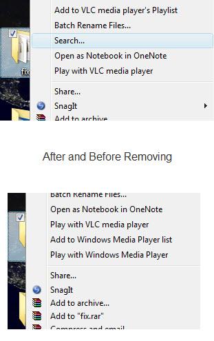 Vista add rigth click search context