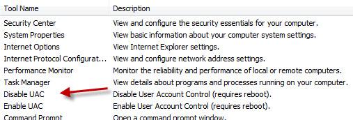 Disabling UAC in Windows Vista