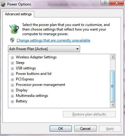 Windows 7 Power Options