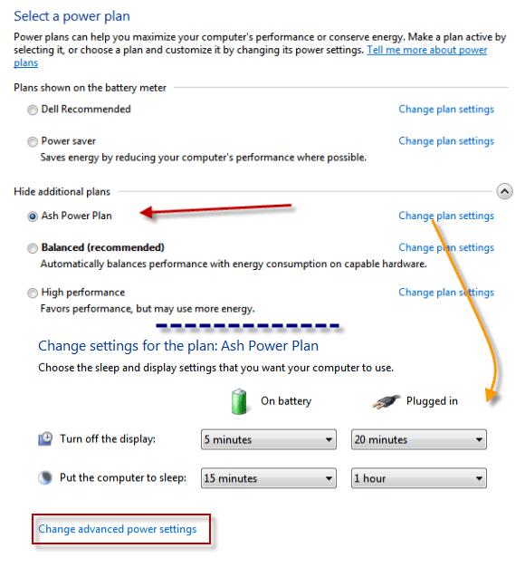 Windows 7 Power Plan Advanced Settings