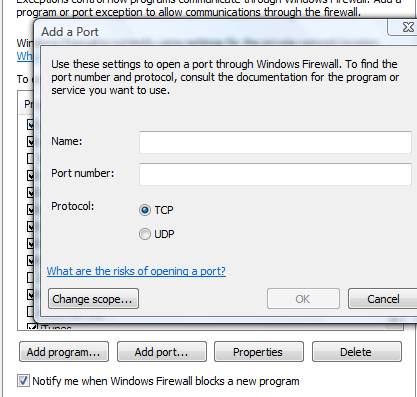 Add port exceptions to Firewall rules
