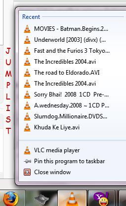 Windows 7 jumplist